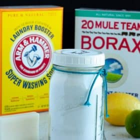 ingredients for homemade laundry detergent - washing soda, borax, and soap.