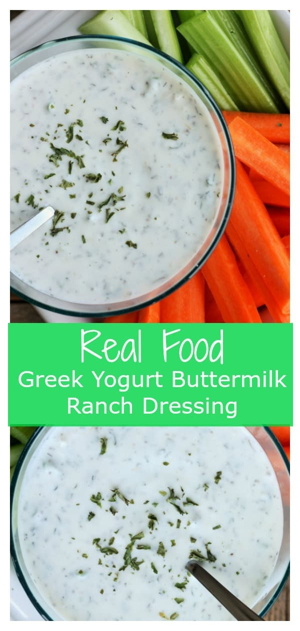 It is so easy to make your own 100% real-food homemade buttermilk ranch dressing. Creamy, tangy, and packed with vibrant herbs, this Greek Yogurt Buttermilk Ranch Dressing will be your new go-to ranch dressing recipe.