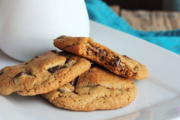 whole wheat chocolate chip cookies on a plate | sustainablecooks.com