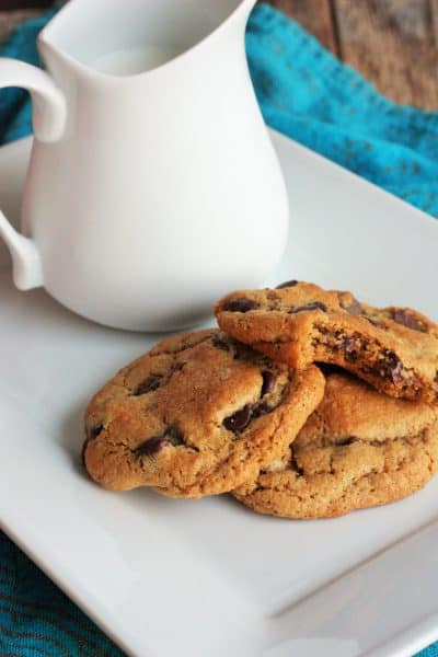 whole wheat chocolate chip cookies on a tray | sustainablecooks.com