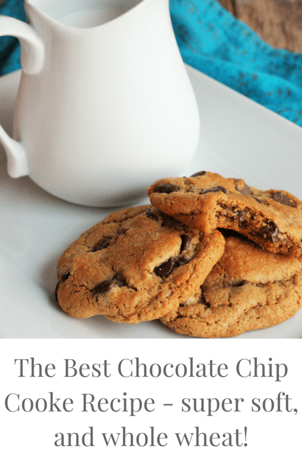 The best chocolate chip cookie recipe. Super soft, big and fluffy, and whole wheat!