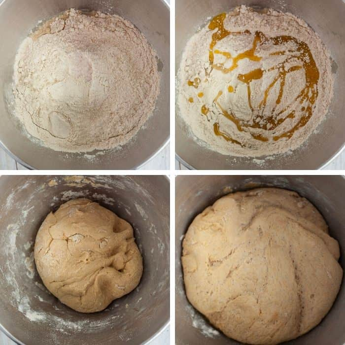 4 photos showing the process of making vegan pizza crust