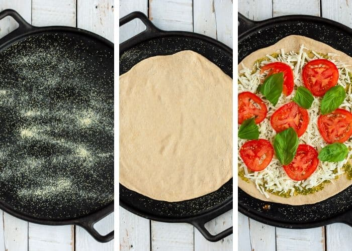 3 photos showing the process of rolling pizza dough onto a cast iron pan
