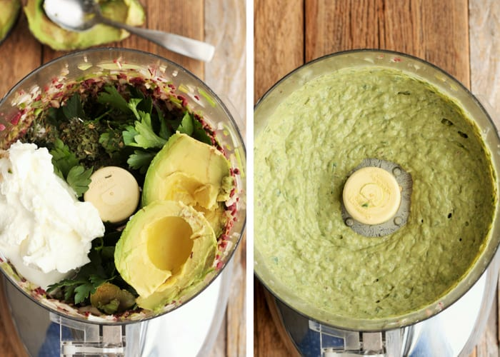 Avocado and other ingredients in a food processor for making green goddess dressing