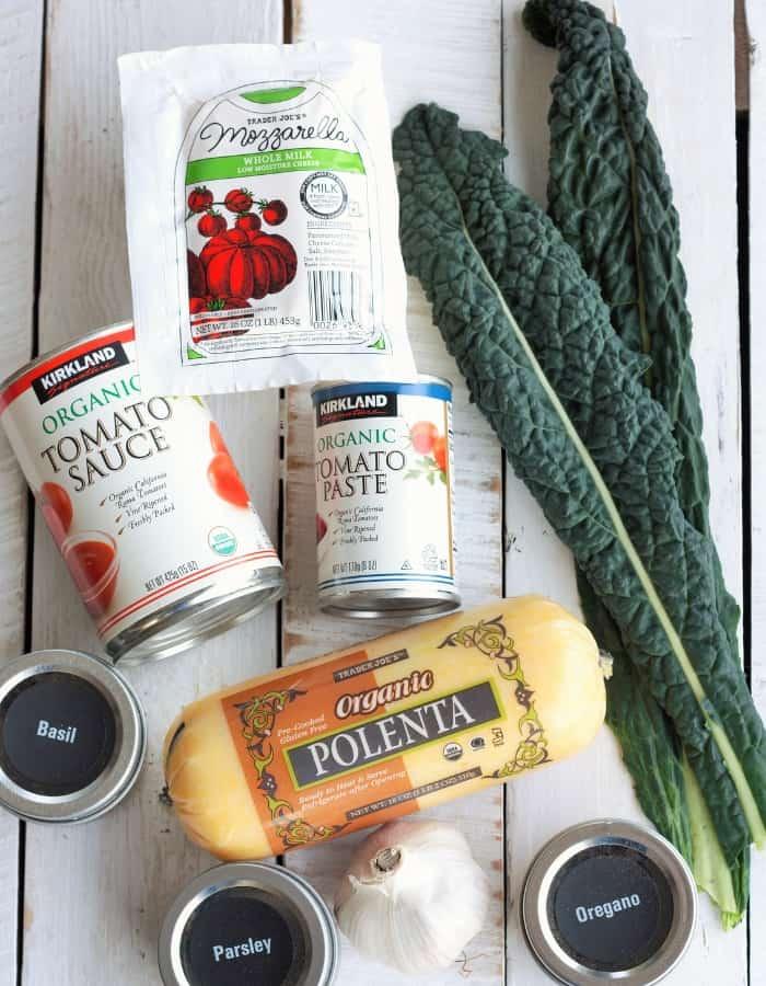 polenta, kale, tomato sauce, for making gluten free lasagna