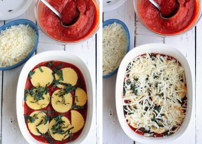 2 photos showing how to layer a gluten free lasagna