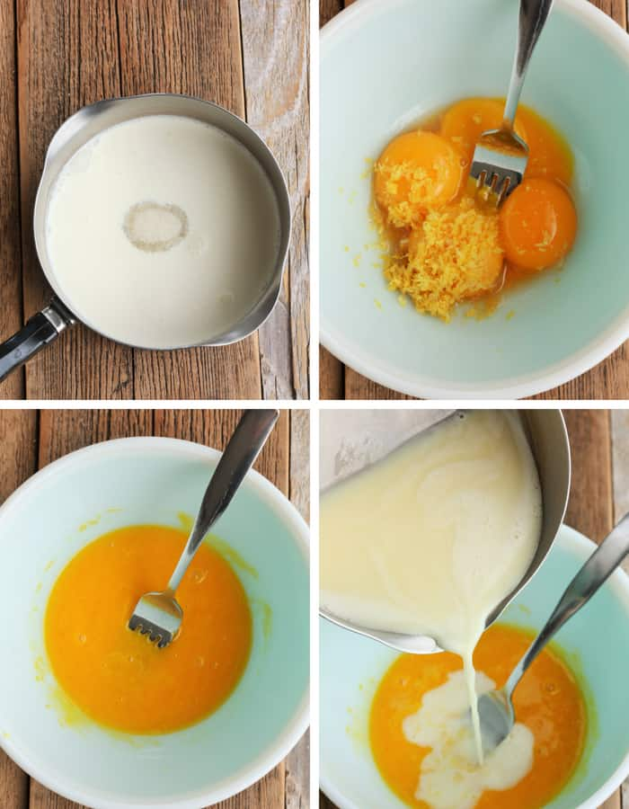 Process steps for making lemon creme brulee
