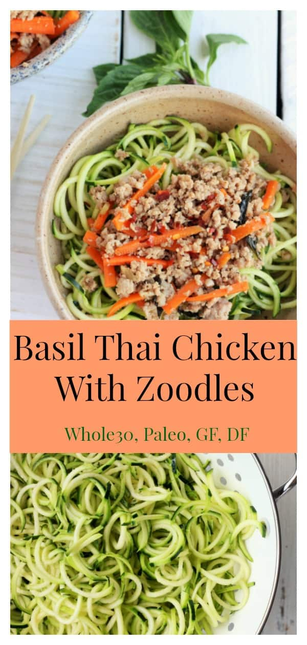 Delicious and easy homemade takeout in under 20 minutes, this Basil Thai Chicken With Zoodles will be your new favorite dish. Full of flavor and easily adaptable to any dietary needs, Basil Thai Chicken is also a make-ahead meal prep dream dish. #sustainablecooks #thaifood #takeout #chicken