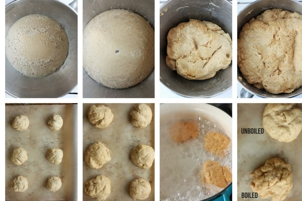 process steps for making homemade pretzel rolls