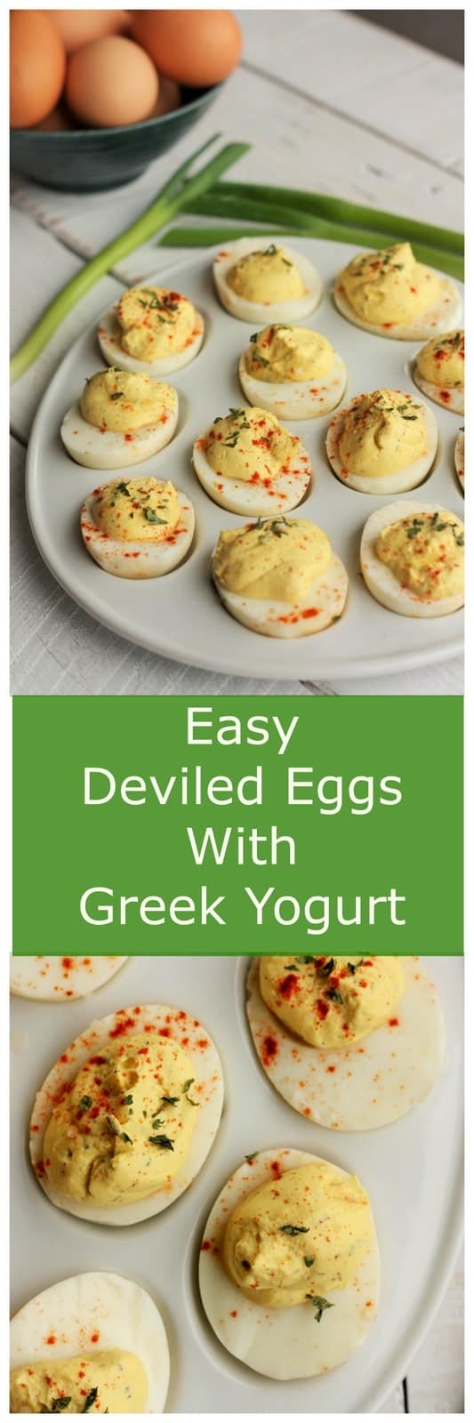 Deviled eggs are a popular addition to any party or get together. These Easy Deviled Eggs With Greek Yogurt are a lighter take on a classic recipe. Perfect for potlucks, dinner parties, Easter, and basically any event where people have taste buds and like to eat!