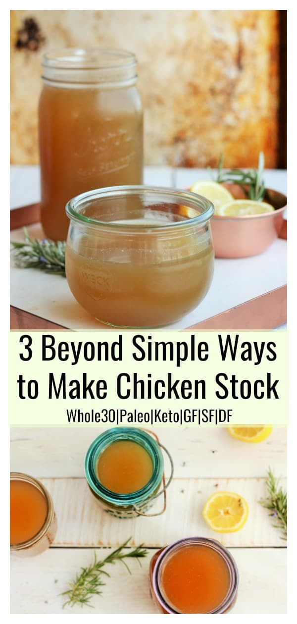 The flavor and health benefits of homemade chicken stock can't be beat! Once you learn how to make Homemade Chicken Stock, you'll be hooked for life. This easy to follow tutorial teaches you three different ways to make delicious, nourishing and affordable chicken stock at home.#sustainablecooks #chickenstock #instantpot #slowcooker #soup