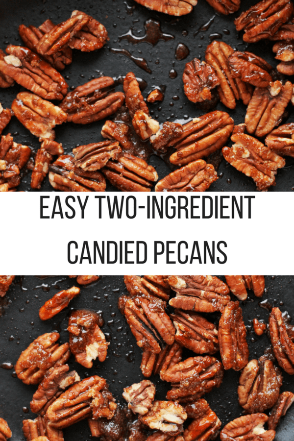Easy two-ingredient candied pecans are so simple to make! They are gluten-free, dairy-free, and vegan. You'll never buy expensive candied pecans again.