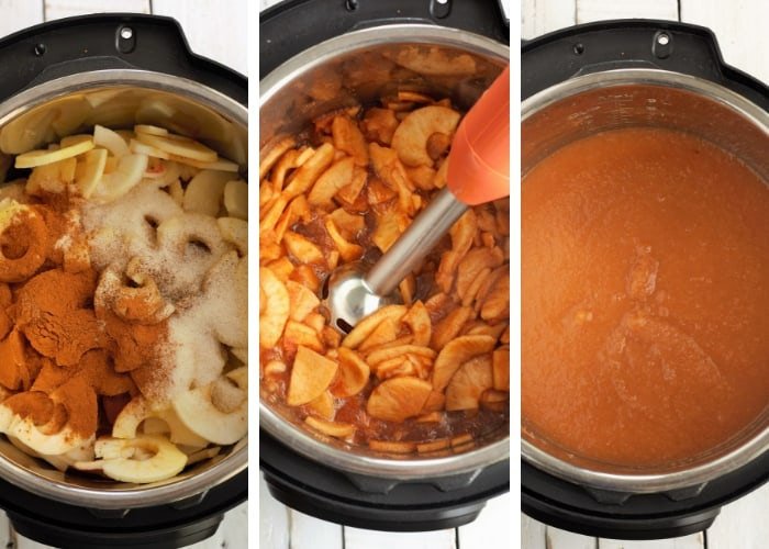 3 photos showing the steps to make slow cooker apple butter