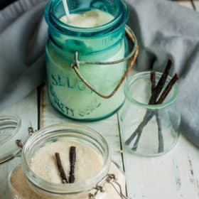 jars with vanilla sugar and vanilla beans