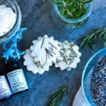 homemade vicks soother tablets with rosemary and a bowl of lavender