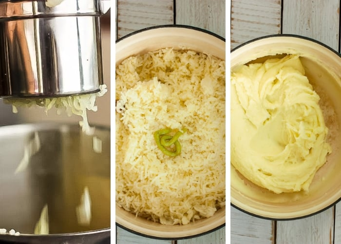 3 photos showing how to make wasabi mashed potatoes with a ricer