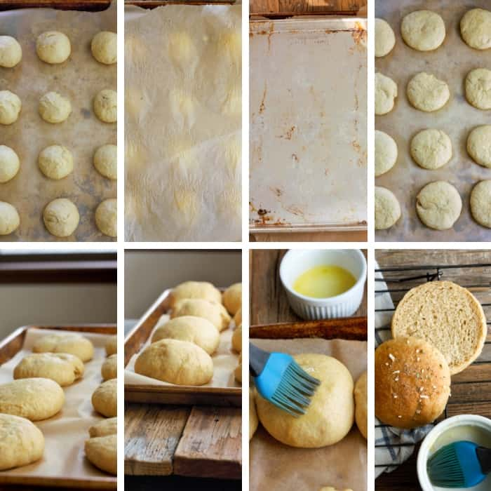 eight photos in the mixing and rising process for making whole wheat hamburger buns