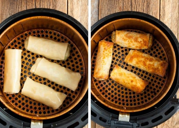 Two photos showing how to make egg rolls in an air fryer