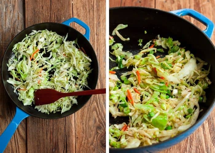 Two photos showing cabbage being cooked in a cast iron skillet for making vegetable egg rolls