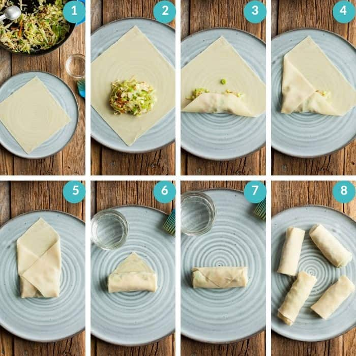 8 photos showing how to wrap an egg roll