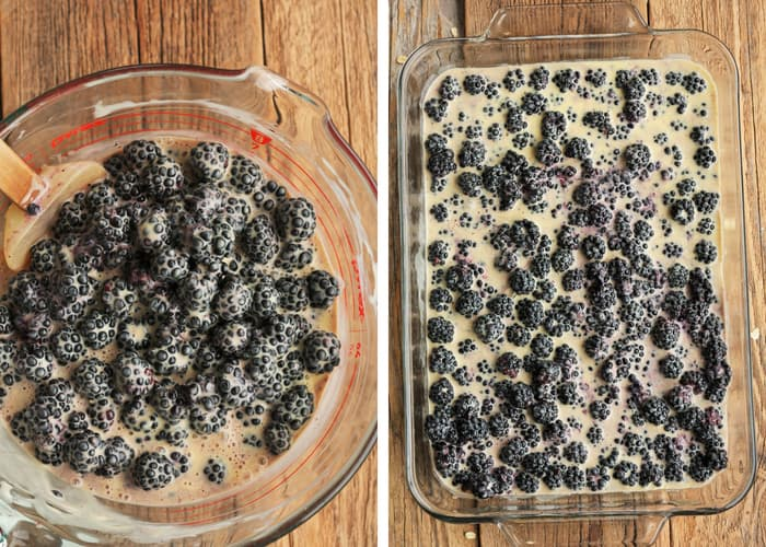 Blackberries in batter for blackberry crisp