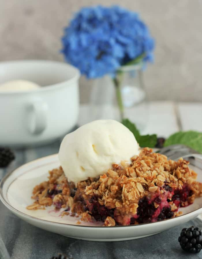 Blackberry crisp with ice cream with a flower in the background