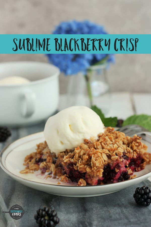 This is the best homemade Homemade Blackberry Crisp you'll ever make! Made with oatmeal, this easy and healthy crisp is also gluten-free. #sustainablecooks #blackberrycrisp #blackberries #crisp #berrycrisp #glutenfree