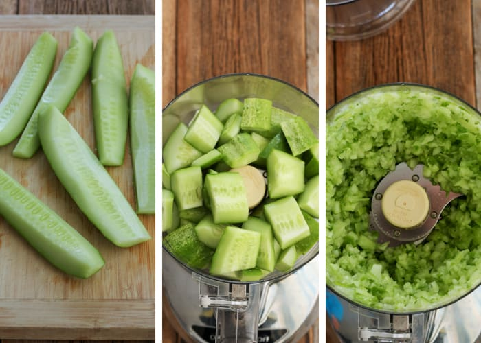 Three photos of cutting cucumbers for homemade dill relish