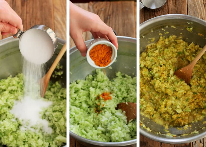 Three photos showing the process for making dill relish