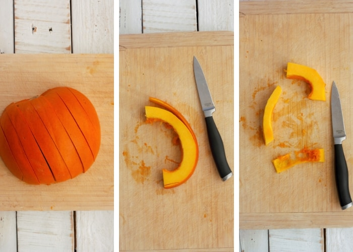Three process steps for canning pumpkin