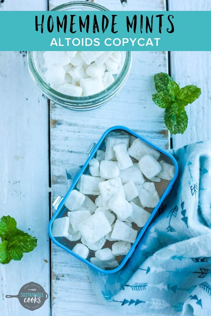 An easy recipe for Homemade Mints that tastes just like Altoids! Perfect for Christmas gifts, or wedding or baby shower favors.#homemademints #christmasgifts #weddingfavors #babyshowerfavors