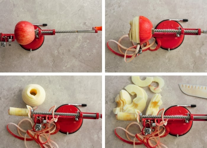 Four step processing for using an apple corer for canning apple pie filling