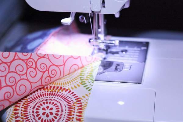 beginner quilt strips in a sewing machine