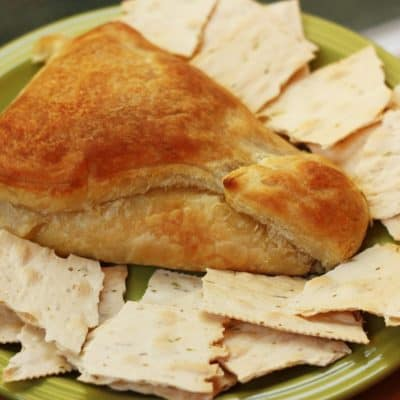 Baked Brie and Roasted Garlic in Puff Pastry