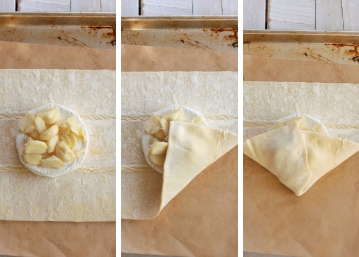 Three steps in folding baked brie in puff pastry