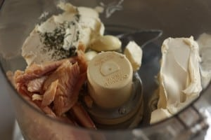 Smoked trout and other ingredients in a food processor | sustainblecooks.com
