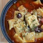 Vegetable Soup With Mini Cheese Ravioli