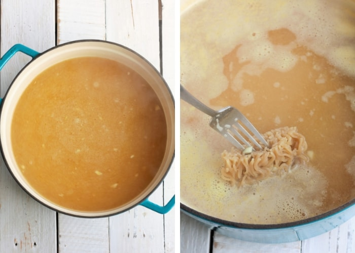 two photos showing broth cooking with noodles for homemade ramen noodle bowls