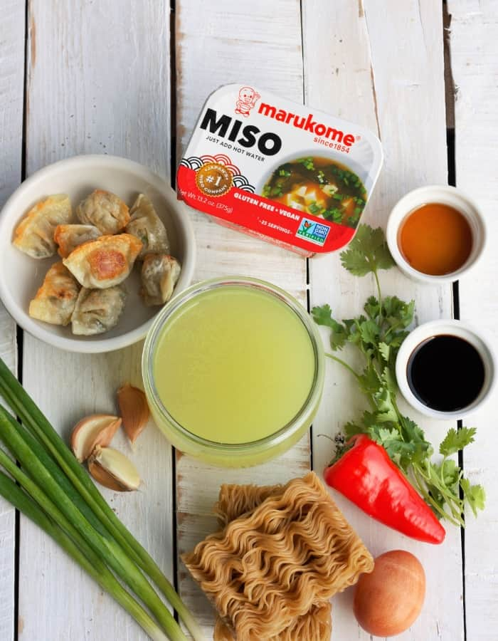 broth, miso paste, and other ingredients for ramen noodle bowls