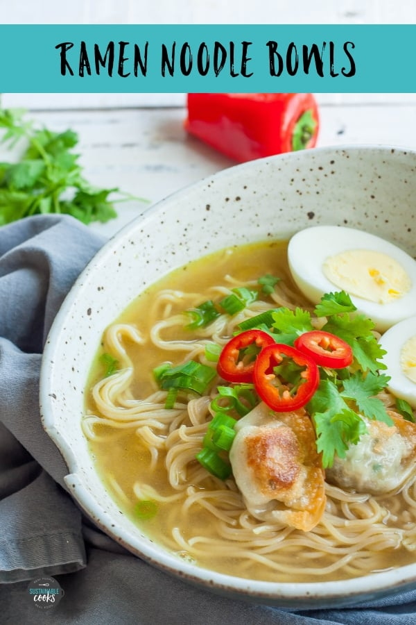 An easy favorite comfort food recipe - Ramen Noodle Bowls are a crazy tasty 15-minute dinner. Everyone can build their own bowl with their favorite mix-ins and toppings.