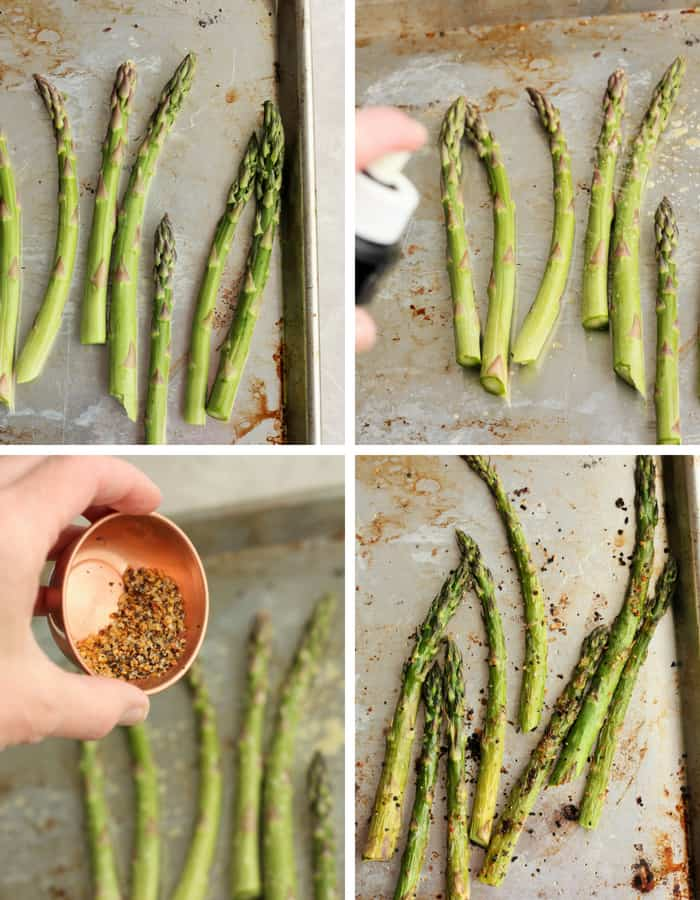 4 process shots how to roast asparagus on a sheet pan