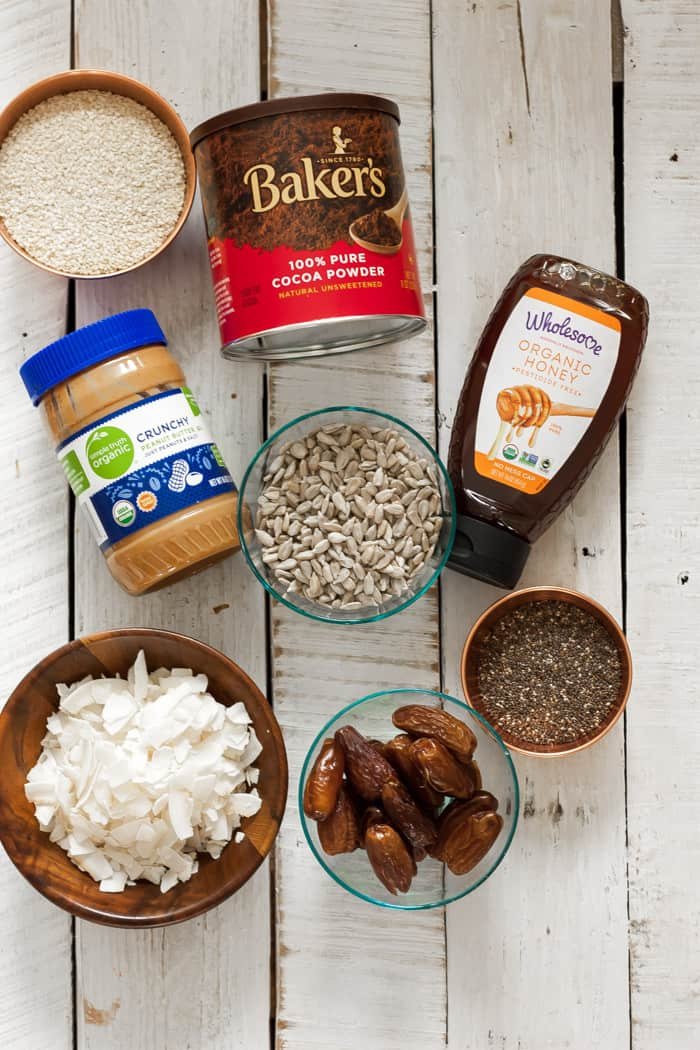 Peanut butter, honey, and other ingredients for making trail mix bars