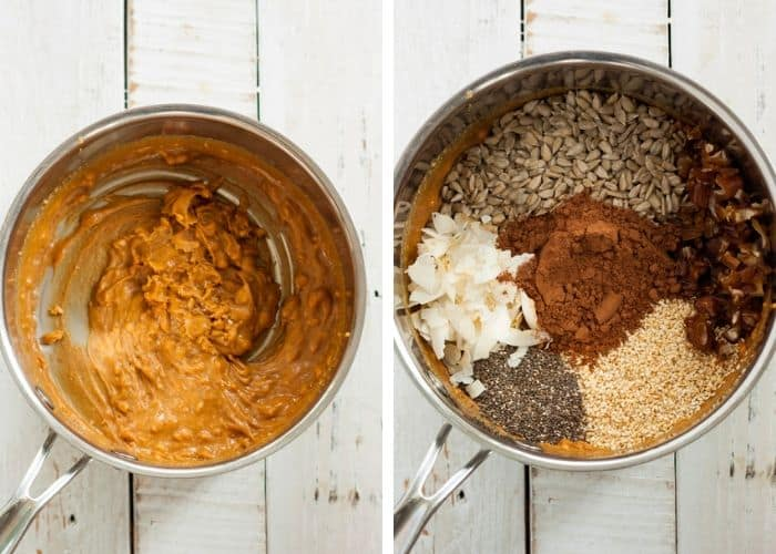 two photos of pans with melted peanut butter and other ingredients for making gluten-free granola bars