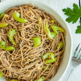 A white bowl filled with soba noodles topped with green onions and celery