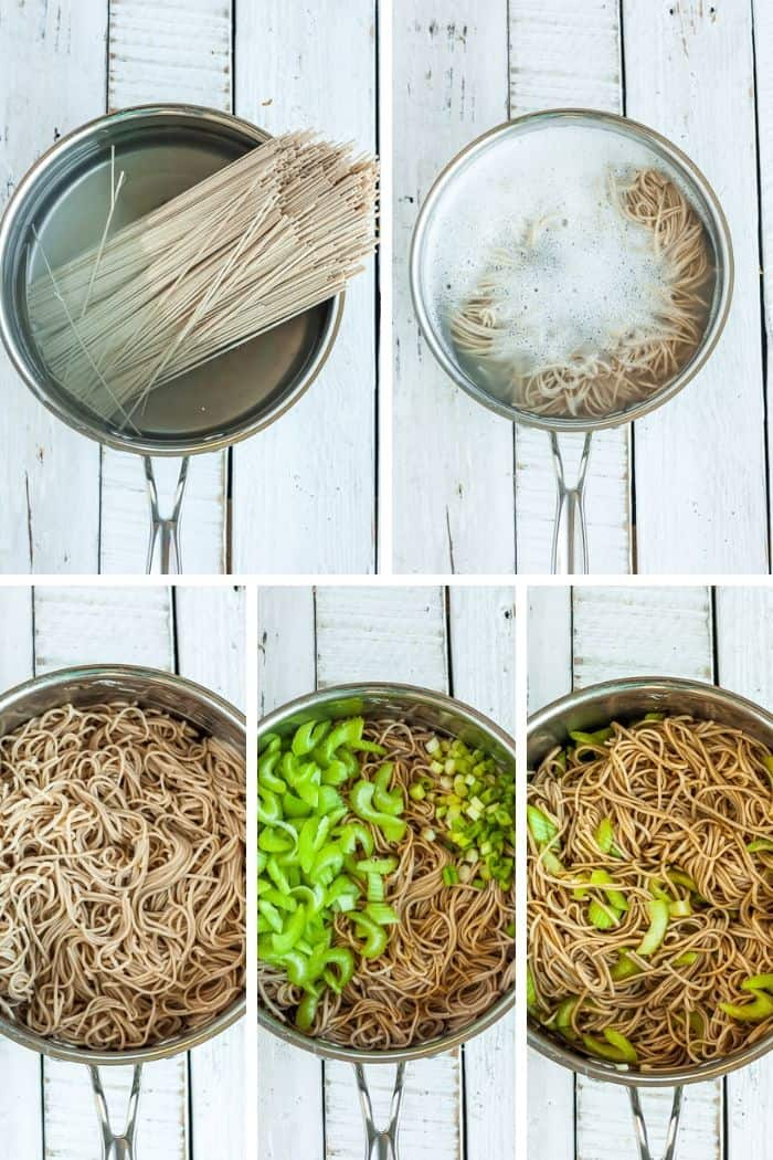 5 photos showing the process of making cold soba noodle salad