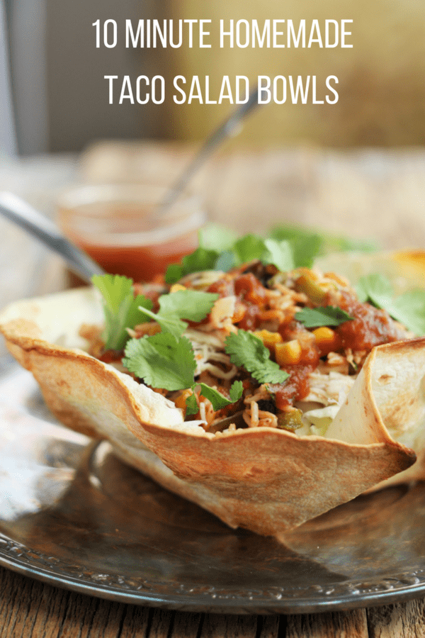 Homemade Taco Salad Bowls are a delicious, affordable, and healthier version of deep-fried taco bowls. No special equipment is needed to make your own Taco Salad Bowls.