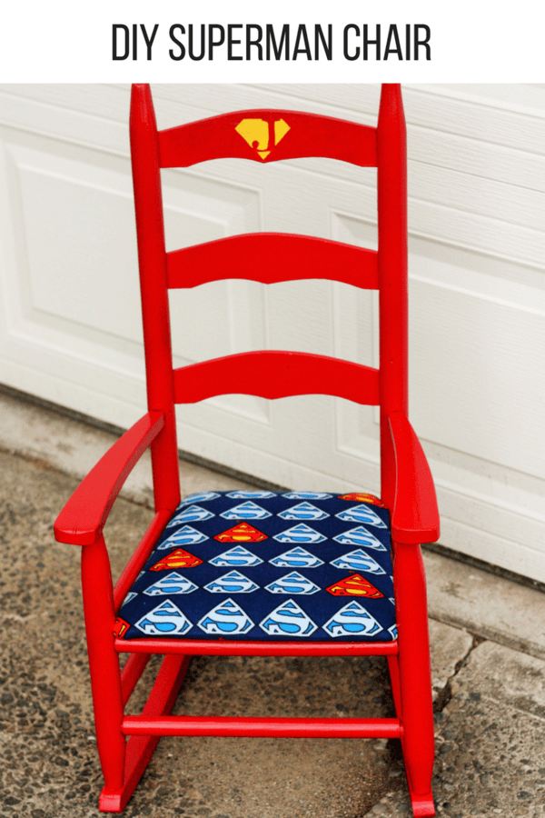 DIY Superman chair project that converts a $4 thrift store chair into a superhero throne. This is an easy, inexpensive and fun project.