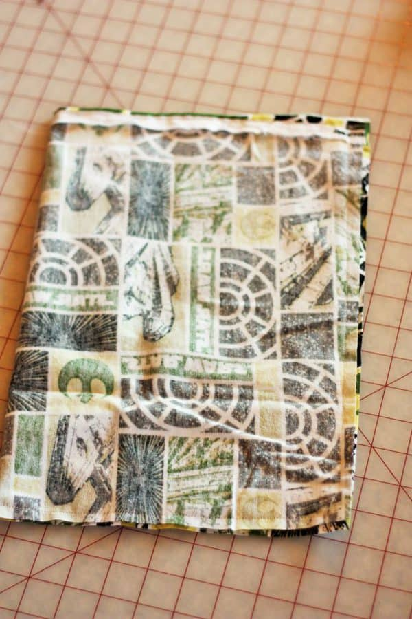 an inside out reusable gift bag during the sewing process