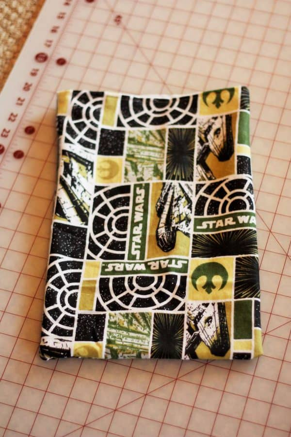 an almost finished reusable gift bag during the sewing process