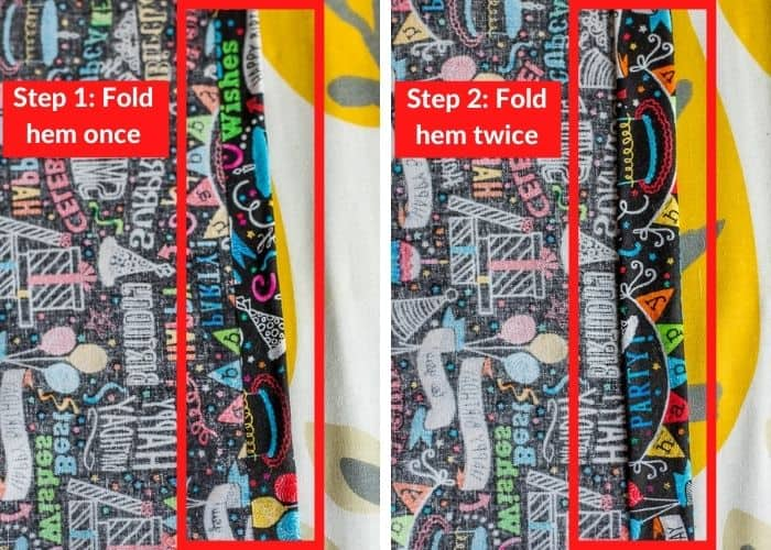 2 photos showing how to fold/press a hem